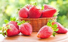 Обои ягоды, клубника, red, корзинка, красная, fresh, спелая, sweet, strawberry, berries