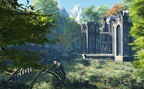 Картинка лес, небо, трава, горы, остов, скелет, башни, дворец, temple, строени