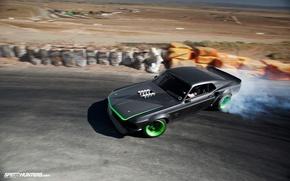 Обои дым, mustang, drift, ford, black, rtr-x