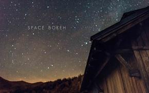 Картинка космос, звезды, силуэт, холм, хижина, приют