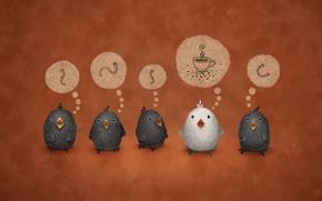 Картинка птицы, фон, чай, мысли, кофе, кружка, червяки, vladstudio, червячки, the white crow