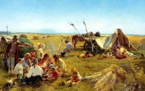 Картинка дети, люди, лошадь, еда, ситуация, картина, котелок, живопись, телега, костёр, снопы, крестьянский обед в поле, …