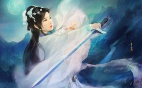 Картинка девушка, горы, ночь, луна, меч, арт, кимоно, азиатка