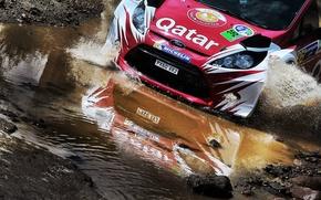 Картинка Ford, Отражение, Камни, Брызги, WRC, Rally, Fiesta, Брод