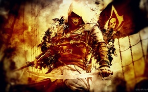 Картинка sword, pistol, Ubisoft, flag, weapons, video game, Assassin's Creed 4, Assassin's Creed IV: Black Flag, …