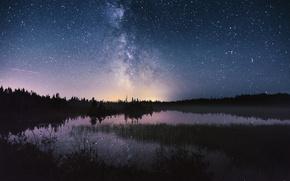 Обои млечный путь, звезды, ночь, озеро, небо