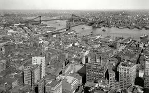 Картинка мост, ретро, река, дома, Нью-Йорк, панорама, США, 1910-й год