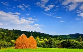 Обои румыния, небо, облака, поле, деревья