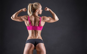 Картинка muscles, blonde, pose, back, fitness, arms, toned body, body building
