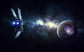 Картинка космос, звезды, взрыв, планета