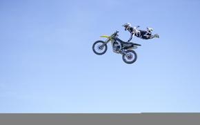 Обои маневр, FMX, Can Can No Footed, всадник, экстремальный спорт, мотокросс, небо, фристайл