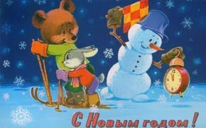 Картинка снег, лыжи, мишка, Новый год, снеговик, Праздник, зайчик, 2014