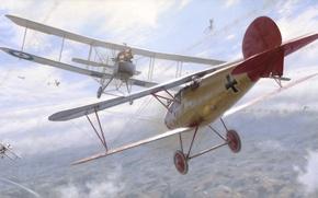 Картинка aircraft, war, art, airplane, aviation, dogfight