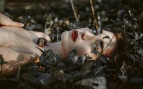 Картинка трава, глаза, взгляд, девушка, лицо, помада, губы