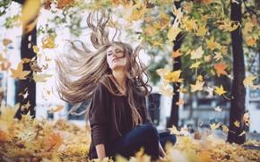 Картинка осень, девушка, ветер, листва