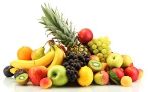 Обои персики, абрикосы, цитрусы, ягоды, яблоки, фрукты, нектарин, лимоны, груши, ананас, апельсины, сливы, виноград, бананы