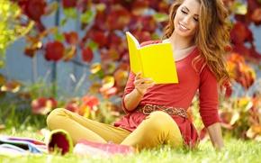 Картинка осень, трава, листья, девушка, книга, шатенка, тетрадь, желтая, читает