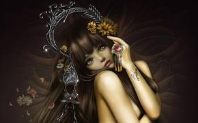 Обои цветы, nana hang, девушка, арт, бабочка, украшения, тату