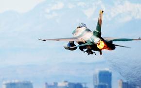 Картинка зад, Истребитель, самолёт, Ф-16