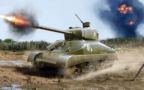 Картинка рисунок, арт, M4A1, Sherman, основной американский средний танк
