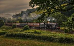 Картинка поезд, паровоз, состав