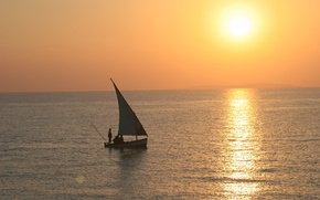 Картинка океан, лодка, утро, парус, рыбаки, sunset, Mozambique, Bazaruto Archipelago