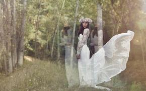 Картинка платье, невеста, венок, свадьба