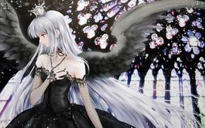 Картинка black, dress, wings, cross, crown, angel