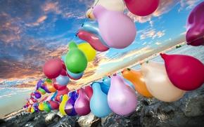 Картинка море, небо, шарики, воздушные, Sky, happy, разноцветные, color, balloon