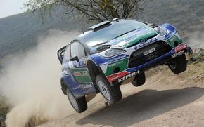 Картинка прыжок, пыль, ford, rally, ралли, wrc, fiesta, Petter Solberg