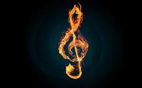 Обои пламя, ключ, мелодия, music, Скрипичный, огонь