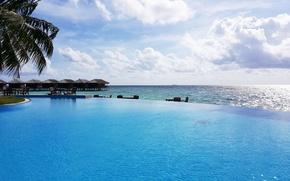 Картинка песок, тропики, пальмы, океан, отдых, остров, бассейн, экзотика, Маldives