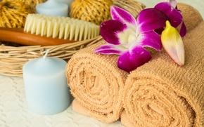Картинка свеча, relax, баня, полотенца, flowers, bath, спа, candle, spa, towel, щетки