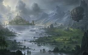 Картинка горы, река, замок, долина, арт, дирижабль