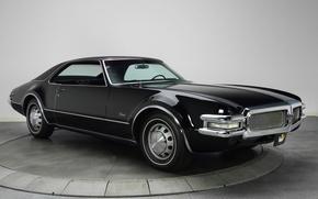 Картинка фон, чёрный, передок, 1968, Muscle car, Мускул кар, Oldsmobile, Олдсмобиль, Торонадо, Toronado