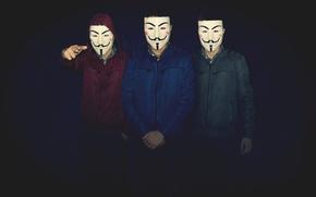 Картинка Dark, Blue, Men, V for Vendetta, Mask, Friends, Boys, vendetta