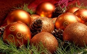 Обои шары, игрушки, рождество, праздник, шишки