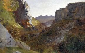 Обои Пикос де Эуропа, картина, ущелье, скалы, горы, Карлос де Хаэс, пейзаж