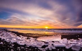 Картинка море, закат, лёд