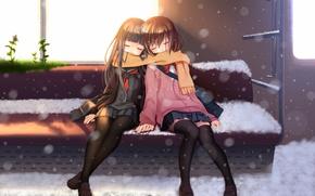 Картинка nana mikoto, снег, арт, школьницы, аниме, поезд, шарф, бабочка, сиденье, солнце, трава, девушки, вагон