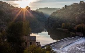 Картинка солнце, лучи, свет, природа, река, восход, вид, высота, утро, панорама, Испания, Толедо, Тахо