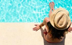 Картинка лето, девушка, бассейн, шляпка