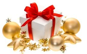 Картинка шарики, праздник, Новый Год, Рождество, Christmas, New Year, gift, bow, ribbon, украшени