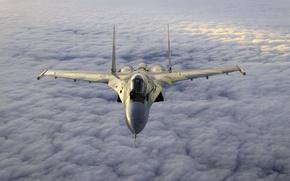 Картинка истребитель, Су-35, над, облаками