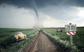 Картинка дорога, машина, небо, трава, пустота, ураган