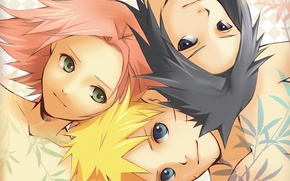 Обои девушка, сакура, наруто, парни, Naruto, саске, розовые волосы, Uzumaki, team 7, команда 7, Sasuke Uchiha, ...