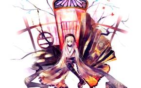 Картинка дверь, белый фон, кимоно, rozen maiden, suigintou, девы розена