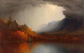 Картинка осень, лес, пейзаж, тучи, озеро, картина, Sanford Robinson Gifford