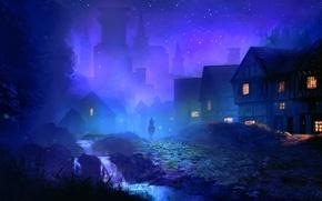 Картинка ночь, река, дома, арт, всадник, городок, мостовая