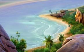 Картинка море, рисунок, Пляж